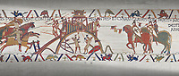 Bayeux Tapestry scene 20: Conan Duke of Britany surrender Dinan, city keys on end of his lance, to Duke William.