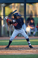 AZL Indians Blue Wilfri Peralta (32) at bat during an Arizona League game against the AZL White Sox on July 2, 2019 at Camelback Ranch in Glendale, Arizona. The AZL Indians Blue defeated the AZL White Sox 10-8. (Zachary Lucy/Four Seam Images)