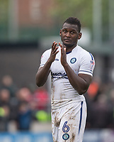 Aaron Pierre of Wycombe Wanderers shows his appreciation as Wycombe supporters sing his name at full time during the Sky Bet League 2 match between Barnet and Wycombe Wanderers at The Hive, London, England on 17 April 2017. Photo by Andy Rowland.