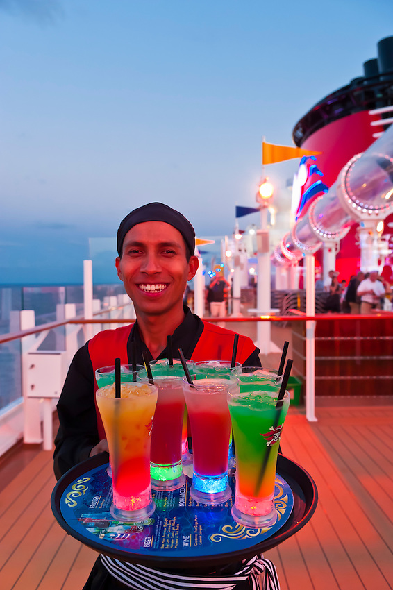 Pirate night on the deck of the Disney Dream cruise ship sailing between the Bahamas and Florida.