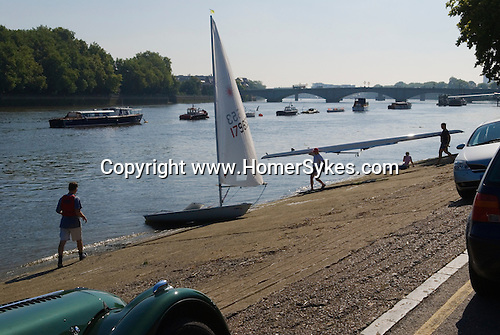 The river Thames at Putney boat houses. Putney bridge London south west London SW15. UK 2007.