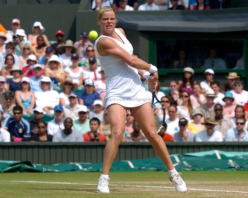 Photo: Richard Lane..Wimbledon Championships. 04/07/2006. .Kim Clijsters of Belgium returns.