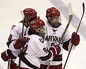Abbey Frazer (Harvard - 28), Chelsea Ziadie (Harvard - 24), Kyra Colbert (Harvard - 5) - The Harvard University Crimson tied the Boston University Terriers 6-6 on Monday, February 7, 2017, in the Beanpot consolation game at Matthews Arena in Boston, Massachusetts.