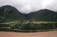 The upper reaches of the Yangtze (Yangtse) river in Derge county - Kham, (Eastern Tibet), Sichuan Province, China