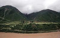The upper reaches of the Yangtze (Yangtse) river in Derge county - Kham, (Eastern Tibet), Sichuan Province, China