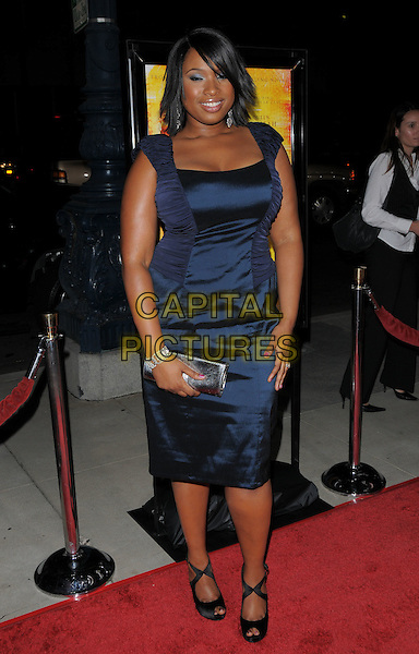 "JENNIFER HUDSON.The Fox Searchlight L.A. Premiere of ""The Secret Life of Bees"" held at The Academy of Motion Arts & Sciences in Beverly Hills, California, USA..October 6th, 2008.full length blue silk satin dress ruched  clutch bag black shoes .CAP/DVS.©Debbie VanStory/Capital Pictures."