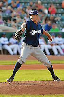 Anthony Banda (18) of the Helena Brewers delivers a pitch to the plate against the Ogden Raptors at Lindquist Field on July 23, 2013 in Ogden Utah. (Stephen Smith/Four Seam Images)