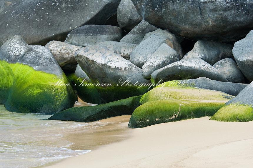The beach and beach rocks at Lambert Bay, Tortola, British Virgin Islands