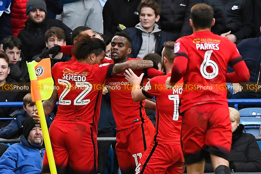Gavin Massey of Leyton Orient is congratulated on scoring his teams first goal during Portsmouth vs Leyton Orient, Sky Bet EFL League 2 Football at Fratton Park on 14th January 2017