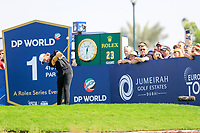 Tommy Fleetwood (ENG) on the 1st tee during the 2nd round of the DP World Tour Championship, Jumeirah Golf Estates, Dubai, United Arab Emirates. 22/11/2019<br /> Picture: Golffile | Fran Caffrey<br /> <br /> <br /> All photo usage must carry mandatory copyright credit (© Golffile | Fran Caffrey)