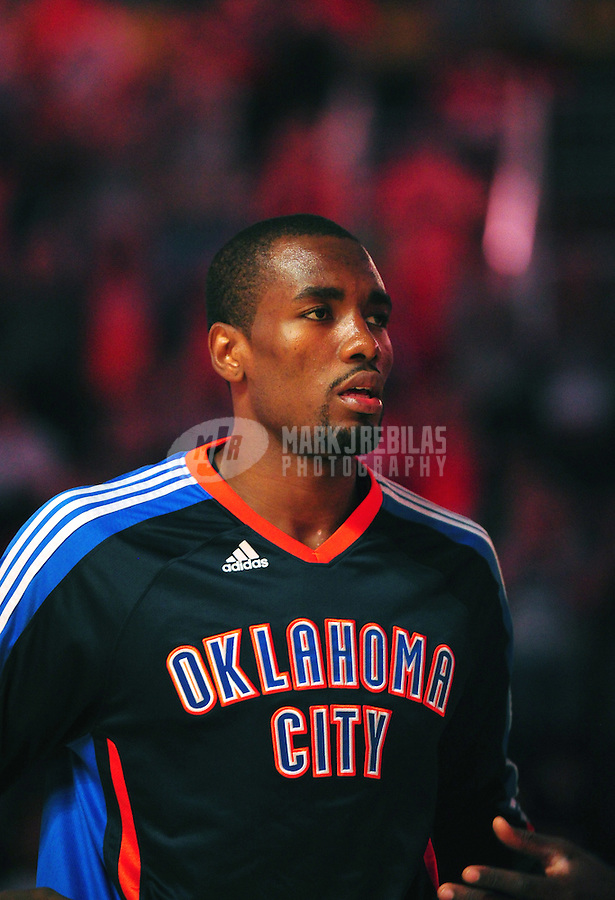 Mar. 30, 2011; Phoenix, AZ, USA; Oklahoma City Thunder forward (9) Serge Ibaka against the Phoenix Suns at the US Airways Center. Mandatory Credit: Mark J. Rebilas-
