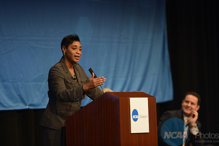 17 JAN 2014: Violet Palmer talks with attendees during the Division II General Session - Students. Athletes. Champions. during the 2014 NCAA convention held in San Diego, CA. Justin Tafoya/NCAA Photos