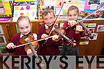 Pupils from the Moyderwell Mercy Primary School 'Colour My Strings Foundation and After-School Programme Rachel O'Connor, Padraig Daly and Gabrielle Browne at a Concert in the School Hall on Thursday