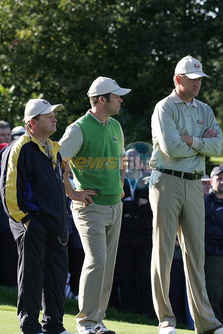 Straffin Co Kildare Ireland. K Club Ruder Cup...European Ryder cup team captain Ian Woosnam, Paul Casey and Robert Karlsson on the 6th green on the  opening fourball session on the first day of the 2006 Ryder Cup, at the K Club in Straffan, Co Kildare, in the Republic of Ireland, 22 September 2006..Photo: Fran Caffrey/ Newsfile.<br />