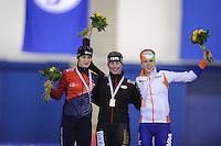 SCHAATSEN: CALGARY: Olympic Oval, 08-11-2013, Essent ISU World Cup, podium 3000m, Martina Sáblíková (CZE), Claudia Pechstein (GER), Ireen Wüst (NED), ©foto Martin de Jong