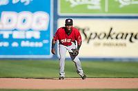 Vancouver Canadians third baseman Otto Lopez (5) during a Northwest League game against the Spokane Indians at Avista Stadium on September 2, 2018 in Spokane, Washington. The Spokane Indians defeated the Vancouver Canadians by a score of 3-1. (Zachary Lucy/Four Seam Images)