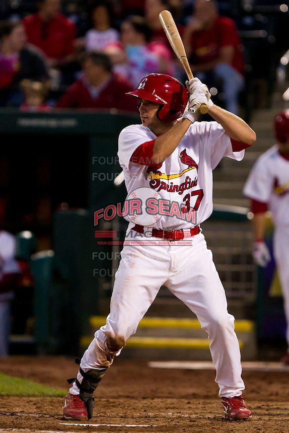 Charles Cutler (37) of the Springfield Cardinals at bat during a game against the Tulsa Drillers on April 29, 2011 at Hammons Field in Springfield, Missouri.  Photo By David Welker/Four Seam Images.