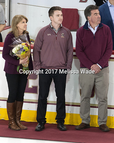 Brian Hurley (BC - Student Manager) with parents - The visiting University of Vermont Catamounts tied the Boston College Eagles 2-2 on Saturday, February 18, 2017, Boston College's senior night at Kelley Rink in Conte Forum in Chestnut Hill, Massachusetts.Vermont and BC tied 2-2 on Saturday, February 18, 2017, Boston College's senior night at Kelley Rink in Conte Forum in Chestnut Hill, Massachusetts.