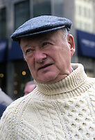 New York, NY - Former New York City Mayor Edward I Koch, wearing an aran sweater, at the St. Patrick's Day Parade.