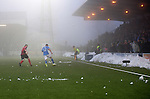 Queen of the South v St Johnstone...07.02.15    Scottish Cup 5th Round<br /> Frustrated saints fans through snowballs at the players<br /> Picture by Graeme Hart.<br /> Copyright Perthshire Picture Agency<br /> Tel: 01738 623350  Mobile: 07990 594431