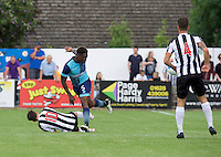 Anthony Stewart of Wycombe Wanderers and Dave Tarpey of Maidenhead United during the Friendly match between Maidenhead United and Wycombe Wanderers at York Road, Maidenhead, England on 30 July 2016. Photo by Alan  Stanford PRiME Media Images.