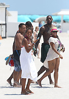 MAY 18 2013.Miami Heat super stars LeBron James and  Dwyane Wade with family during Miami beaches day.Non Exclusive.Mandatory Credit: OHPIX.COM..Ref: OH_SOL &copy;/NortePhoto<br />