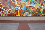 Colorful mural outside the Tucson Museum of Art, Tucson, Arizona