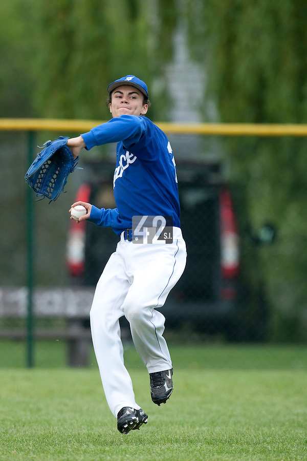 29 April 2009: Lowel Bigot takes outfield practice during the first of six 2009 MLB European Academy Try-out Sessions throughout Europe, at Stade Pierre Rolland, in Rouen, France. Try-out sessions are run by members of the Major League Baseball Scouting Bureau with assistance from MLBI staff.