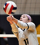 Althoff's Mary Wessel bumps the ball. Edwardsville defeated Althoff in a Class 4A volleyball sectional semifinal at O'Fallon HS in O'Fallon, IL on November 4, 2019.<br /> Tim Vizer/Special to STLhighschoolsports.com