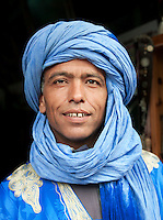 Portrait of a berber tribesman, who is a shopkeeper in the coastal town of Essaouira, Morocco