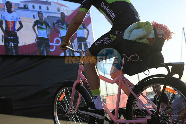Team Dimension Data at the Team Presentation in Alghero, Sardinia for the 100th edition of the Giro d'Italia 2017, Sardinia, Italy. 4th May 2017.<br /> Picture: Eoin Clarke | Cyclefile<br /> <br /> <br /> All photos usage must carry mandatory copyright credit (&copy; Cyclefile | Eoin Clarke)