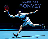 3rd January 2020; RAC Arena, Perth, Western Australia; ATP Cup Australia, Perth, Day 1,; USA v Norway John Isner of the USA plays a running forehand shot from the baseline against Casper Ruud of Norway - Editorial Use