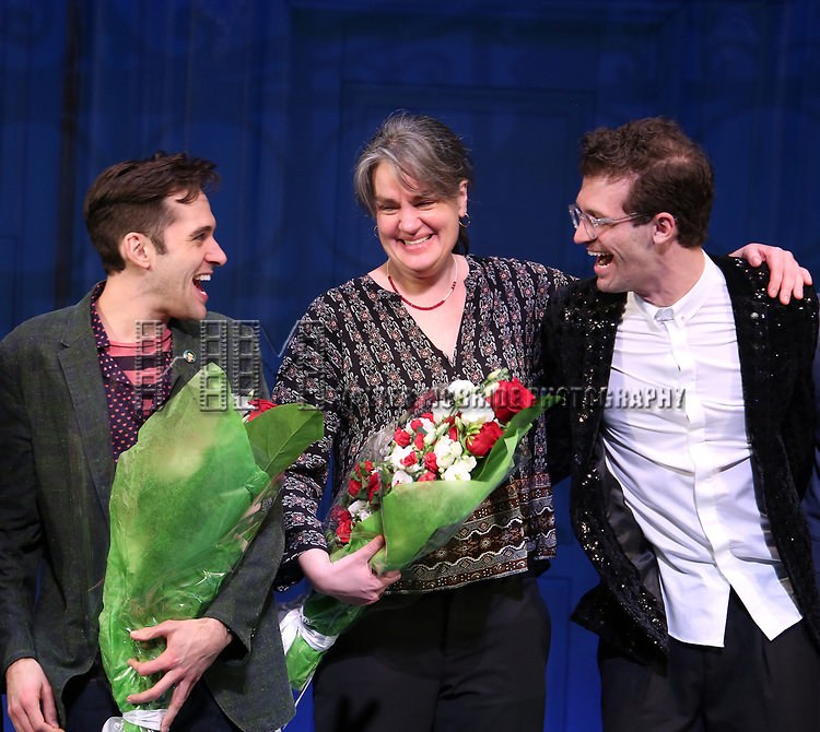 Adam Chanler-Berat, Pam MacKinnon and Sam Pinkleton during the Broadway Opening Night Performance Curtain Call for 'Amelie' at the Walter Kerr Theatre on April 3, 2017 in New York City