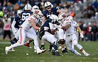 STATE COLLEGE, PA - NOVEMBER 11: Wisconsin LB Andrew Van Ginkel (17) and LB Zack Baun (56) hit Penn State QB Trace McSorley (9) during the Penn State Nittany Lions vs. the Wisconsin Badgers on November 11, 2018 at Beaver Stadium in State College, PA. (Photo by Randy Litzinger/Icon Sportswire)