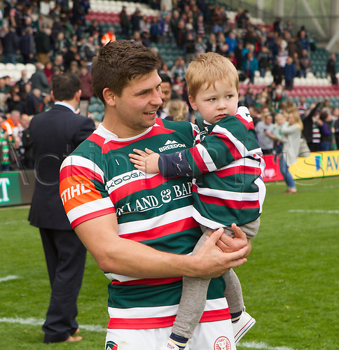 April 29th 2017, Welford Road Stadium, Leicester, England; Aviva Premier league rugby, Leicester Tigers versus Sale;  Ben Youngs and son during the team lap of honour of Welford Road after last home game of the season
