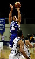 Brendon Polybank shoots a three-pointer during the NBL Basketball match between the Wellington Saints and Bay Hawks, TSB Bank Arena, Wellington, New Zealand on Saturday, 10 May 2008. Photo: Dave Lintott / lintottphoto.co.nz