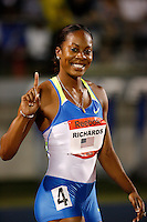 Sanya flashes a smile and the #1 sign after her 400m victory at the Reebok Grand Prix in New York on Saturday, May 31, 2008. Photo by Errol Anderson,The Sporting Image.