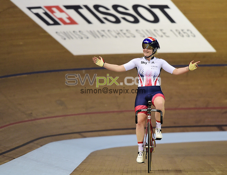 Picture by Alex Broadway/SWpix.com - 06/11/2016 - Cycling - 2016 UCI Track Cycling World Cup, Day 3 - Sir Chris Hoy Velodrome, Glasgow, United Kingdom - Emily Kay of Great Britain celebrates winning Gold in the Women's Omnium.