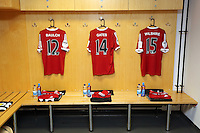 Pictured: Away team shirts in the changing room. Sunday, 01 June 2014<br /> Re: Celebrities v Celebrities football game organised by Sellebrity Scoccer, in aid of Swansea City Community Trust, at the Liberty Stadium, south Wales.