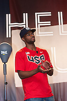 USA Olympic Boxing Team member Marcus Browne participates in the Road to London 100 Days Out Celebration in Times Square in New York City, New York, USA on Wednesday, April 18, 2012.  Times Square was transformed into an Olympic Village for the event.