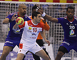 12.01.2013 Granollers, Spain. IHF men's world championship, prelimanary round. Picture show Kamel Alouini in action during game between France vs Tunisia at Palau d'esports de Granollers