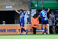 Wycombe Wanderers' Joe Jacobson celebrates scoring his side's second goal<br /> <br /> Photographer Andrew Vaughan/CameraSport<br /> <br /> The EFL Sky Bet League One - Wycombe Wanderers v Lincoln City - Saturday 7th September 2019 - Adams Park - Wycombe<br /> <br /> World Copyright © 2019 CameraSport. All rights reserved. 43 Linden Ave. Countesthorpe. Leicester. England. LE8 5PG - Tel: +44 (0) 116 277 4147 - admin@camerasport.com - www.camerasport.com