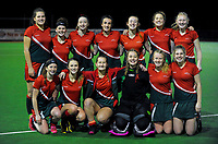 The Wairarapa team poses for a group photo after the National Women's Association Under-18 Hockey Tournament match between Wairarapa and Bay Of Plenty at Twin Turfs in Clareville, New Zealand on Friday, 14 July 2017. Photo: Dave Lintott / lintottphoto.co.nz
