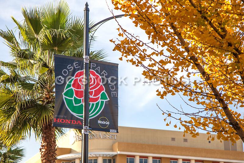 Rose Parade Flag on Colorado Boulevard in Pasadena