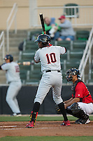 Ti'Quan Forbes (10) of the Hickory Crawdads at bat against the Kannapolis Intimidators at Kannapolis Intimidators Stadium on April 7, 2016 in Kannapolis, North Carolina.  The Crawdads defeated the Intimidators 5-1.  (Brian Westerholt/Four Seam Images)