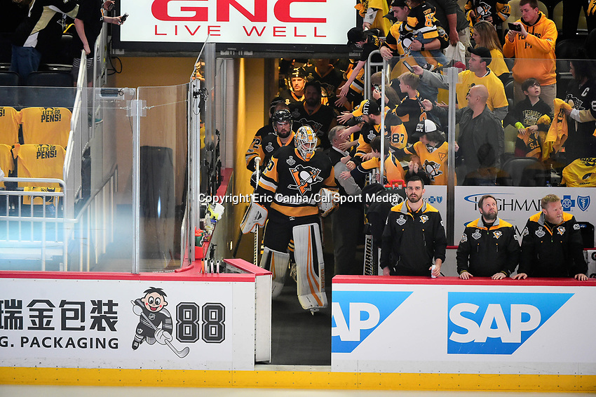 June 8, 2017: Pittsburgh Penguins goalie Matt Murray (30) heads to the ice at game five of the National Hockey League Stanley Cup Finals between the Nashville Predators  and the Pittsburgh Penguins, held at PPG Paints Arena, in Pittsburgh, PA. Pittsburgh defeats Nashville 6-0 to lead the series 3-2. Eric Canha/CSM