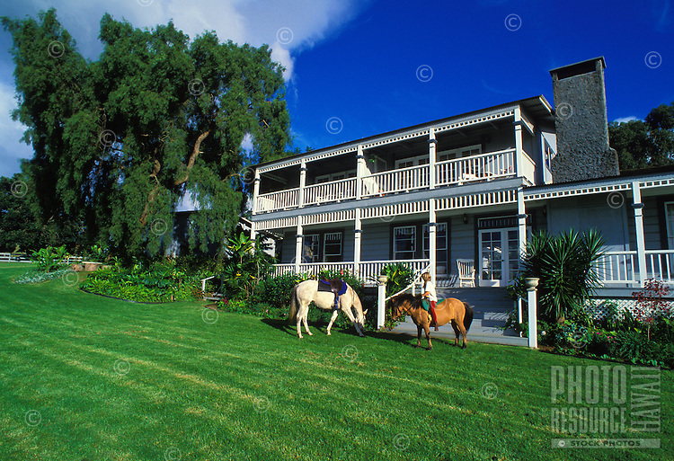 A young girl rides on small pony at the Silver Cloud Ranch. A bed and breakfast located in upcountry Maui, it is known for its tranquility, old time charm and sweeping views of the central valley, West Maui Mountains and the south side of the island.