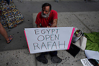 New York City, NY. 07 August 2014. People attend a Rally asking the Egyptian government to open the border between Egypt and Gaza in New York City . Photo by Kena Betancur/VIEWpress