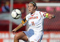 COLLEGE PARK, MD - OCTOBER 21, 2012:  Olivia Wagner (11) of the University of Maryland during an ACC women's match against Florida State at Ludwig Field in College Park, MD. on October 21. Florida won 1-0.