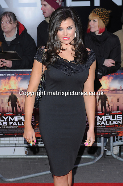"NON EXCLUSIVE PICTURE: PAUL TREADWAY / MATRIXPICTURES.CO.UK.PLEASE CREDIT ALL USES..WORLD RIGHTS..""The Only Way Is Essex"" reality TV star Jessica Wright attending the UK premiere of ""Olympus Has Fallen"", at London's BFI Imax Theatre...APRIL 3rd 2013..REF: PTY 132190"